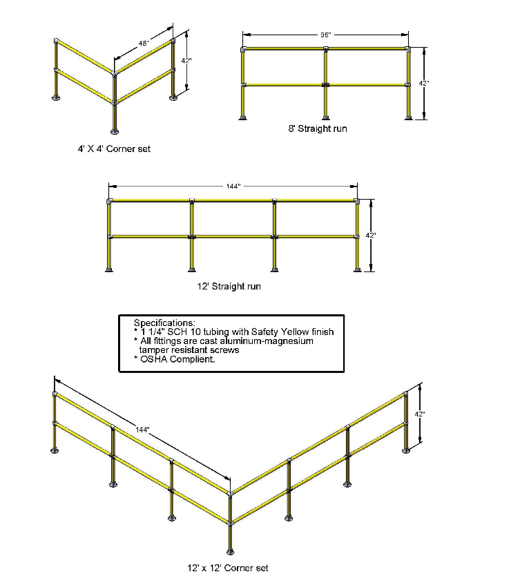 8' Run of Handrail, 4' x 4' Corner Safety Railing, 12' Straight Run Handrail