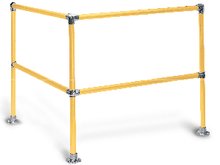 Safety railing for warehouses and walkways, hand rail, yellow hand rail